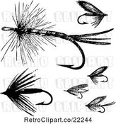 Vector Clip Art of Retro Digital Collage of Fly Fishing Hooks - 2 by BestVector