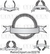 Vector Clip Art of Retro Digital Collage of Grayscale Award Crests with Blank Banners by BestVector