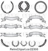 Vector Clip Art of Retro Digital Collage of Grayscale Banners, Laurels and Wreaths by BestVector