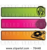 Vector Clip Art of Retro Digital Collage of Green, Pink and Orange Website Headers; Microphone, Disco Ball and Record Player by Elena