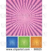 Vector Clip Art of Retro Digital Collage of Grungy Pink, Blue, Green and Orange Ray Backgrounds by Pushkin