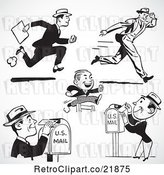 Vector Clip Art of Retro Digital Collage of Men Running and Sending Mail by BestVector