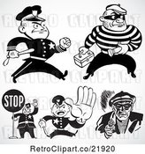 Vector Clip Art of Retro Digital Collage of Policemen and Criminals by BestVector