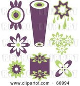 Vector Clip Art of Retro Digital Collage of Purple and Green Icons by Prawny