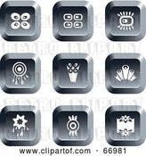 Vector Clip Art of Retro Digital Collage of Square Chrome Buttons by Prawny