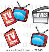 Vector Clip Art of Retro Digital Collage of Television Guides and Televisions by Cidepix