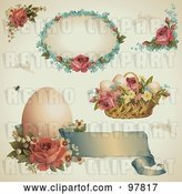 Vector Clip Art of Retro Digital Collage of Victorian Easter Design Elements with Roses, Eggs and Baskets by Anja Kaiser