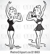 Vector Clip Art of Retro Digital Collage of Women in Bathing Suits, Waving by BestVector