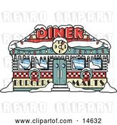 Vector Clip Art of Retro Diner in Snow, Decorated in Christmas Wreaths and Lights by Andy Nortnik