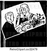 Vector Clip Art of Retro Dining Couple by BestVector