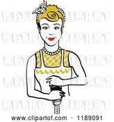 Vector Clip Art of Retro Dirty Blond Housewife or Maid Lady Grinding Fresh Pepper by Andy Nortnik