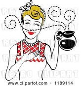 Vector Clip Art of Retro Dirty Blond Waitress or Housewife Smelling the Aroma of Fresh Hot Coffee in a Pot 2 by Andy Nortnik