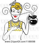Vector Clip Art of Retro Dirty Blond Waitress or Housewife Smelling the Aroma of Fresh Hot Coffee in a Pot by Andy Nortnik