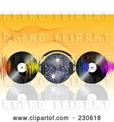 Vector Clip Art of Retro Disco Ball with Headphones, Waves and Vinyl Records on Orange by Elaineitalia