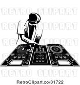 Vector Clip Art of Retro Disk Jocky Deejay Guy Mixing Records by Frisko