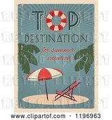 Vector Clip Art of Retro Distressed Beach Furniture Summer Poster with Sample Text by Eugene