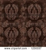 Vector Clip Art of Retro Distressed Brown Floral Pattern by Dero