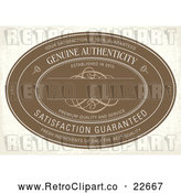 Vector Clip Art of Retro Distressed Brown Genuine Authenticity Label on Beige by BestVector
