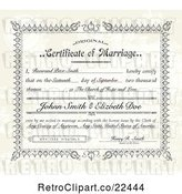 Vector Clip Art of Retro Distressed Certificate of Marriage and Sample Text by BestVector