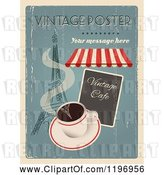 Vector Clip Art of Retro Distressed Coffee and Paris Poster with Sample Text by Eugene