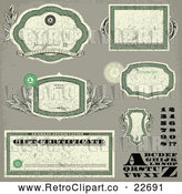 Vector Clip Art of Retro Distressed Green Money Themed Frames Letters Numbers and Certificates by BestVector
