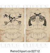 Vector Clip Art of Retro Distressed Invitations with a Skull and Crossbones and Revolvers by BestVector