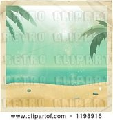 Vector Clip Art of Retro Distressed Photo of a Tropical Beach with Stains by Elaineitalia