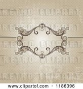Vector Clip Art of Retro Distressed Sepia Polka Dot Background with an Ornate Frame by KJ Pargeter