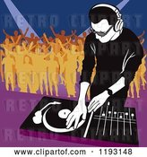 Vector Clip Art of Retro Dj Mixing a Record and Silhouetted Dancers by Dero