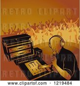 Vector Clip Art of Retro Dj Mixing a Record and Silhouetted Dancers in Orange Tones by Dero