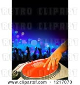Vector Clip Art of Retro Dj Mixing a Record at a Club by Dero