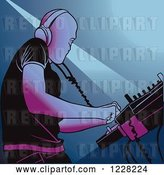 Vector Clip Art of Retro Dj Mixing a Record in a Club by Dero