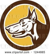 Vector Clip Art of Retro Doberman Dog Face in Profile in a Circle by Patrimonio