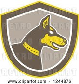 Vector Clip Art of Retro Doberman Pinscher Dog in Profile in a Shield by Patrimonio