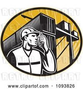 Vector Clip Art of Retro Dock Worker Using a Walkie Talkie by Patrimonio