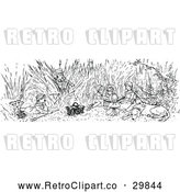 Vector Clip Art of Retro Dog and Children in Tall Grass by Prawny Vintage