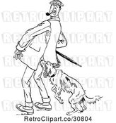 Vector Clip Art of Retro Dog Attacking a Guy by Prawny Vintage