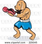 Vector Clip Art of Retro Dog Boxing in Red Gloves by Patrimonio