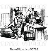 Vector Clip Art of Retro Dog Buying from a Merchant by Prawny Vintage