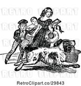Vector Clip Art of Retro Dog Carrying a Basket and KChildren by Prawny Vintage