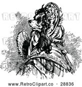 Vector Clip Art of Retro Dog Lady with a Fan by Prawny Vintage