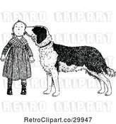 Vector Clip Art of Retro Dog Licking a Girls Face by Prawny Vintage