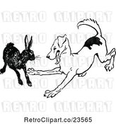 Vector Clip Art of Retro Dog Playing with a Rabbit by Prawny Vintage