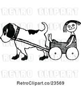 Vector Clip Art of Retro Dog Pulling a Doll in a Wagon by Prawny Vintage