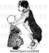 Vector Clip Art of Retro Dog Resting Its Paws on a Girls Shoulders by Prawny Vintage