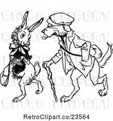 Vector Clip Art of Retro Dog Walking with a Rabbit by Prawny Vintage