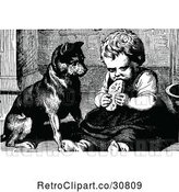 Vector Clip Art of Retro Dog Watching a Girl Eat by Prawny Vintage