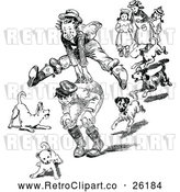 Vector Clip Art of Retro Dogs Around Boys Playing Leap Frog by Prawny Vintage