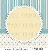Vector Clip Art of Retro Doily Circular Frame on Blue Polka Dots and Stripes by Elaineitalia