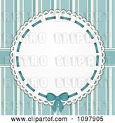 Vector Clip Art of Retro Doily with Copyspace over Blue Stripes by Elaineitalia
